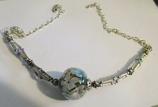 STERLING SILVER MILLEFIORI GLASS BALL MULTI COLOR BEADED NECKLACE