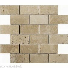 "Sample of Tumbled Classic Light Travertine Brick Mosaic Tiles 48x100 mm (2""x4"")"
