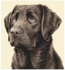 CHOCOLATE LABRADOR RETREIVER dog, pup - Counted cross stitch kit + all materials