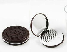 OREO STYLE COOKIE COMPACT MIRROR WITH COMB --GREAT CUTE GIFT-- **NEW**