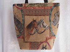 Artisan Treasures Handcrafted Equestrian Two Horse Heads Kooler Bag NEW