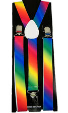 "Unisex Clip-on Braces Elastic ""Fashion Rainbow""  Y-back Suspender"