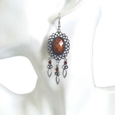 Womens Bohemian Boho Hippy Big Brown Gem Bead Antique Leave Charm Dangle Earring