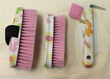 Floral Horse Body & Face Brushes Hoof Pick with Brush Equine Grooming Tools Set