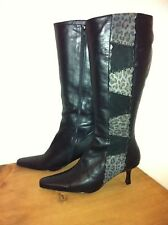 LOTUS BLACK LEATHER CLASSY KNEE HIGH BOOTS SZE 6.5 NEW CONDITION