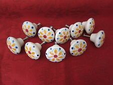LOT OF 10 HAND PAINTED FLORAL PORCELAIN DRAWER KNOBS