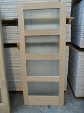 "Pre Finished Obscure Glazed Shaker 4 Light White Oak internal Doors 33"" x 78"""