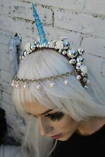 UNICORN PRINCESS INDIAN ETHNIC FLOWER CROWN HEAD BAND STUD FESTIVAL FAIRY PIXIE