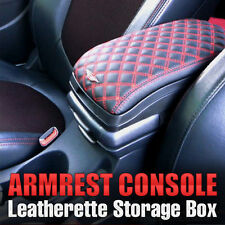 Armrest Arm Rest Center Console Storage Box Leatherette Red for Vehicle Parts