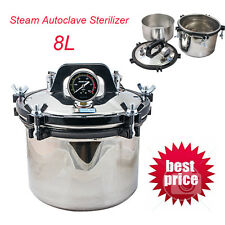 Dental Steam Autoclave Sterilizer 8L stainless steel Portable 8kg