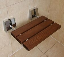 Folding Shower Seat | Wall Mounted Solid Wood TEAK | Bathroom Mobility Aid