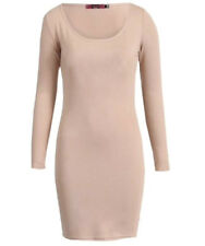 NEW WOMENS LADIES LONG SLEEVE ROUND SCOOPED NECK PLAIN JERSEY BODYCON MINI DRESS