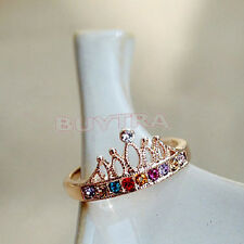 High Quality Lovely Cute Gold Plated Crown Color Crystal Rhinestone Light Ring