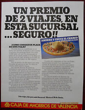 ORIGINAL Poster Spain Caja De Ahorros Valencia Savings Bank Sombrero 1981