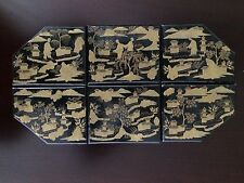 Antique Chinese Export Lacquer Game Box Tray 19th Century China Trade Japanese