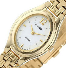 NON-WORKING $195 Seiko Women's Gold Plated Solar Silver Oval Dial Watch SUP008