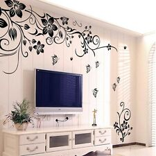 Removable Black Vinyl Butterfly Vine Flower Wall Decal Stickers Bedroom Decor