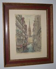 Vintage Framed Signed German Colored Etching Cathedral & Canals Cityscape