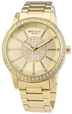 Mike Ellis New York Women's Quartz Watch with Gold Dial Analogue Display and Sta