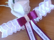 PERSONALISED WEDDING/ HEN GARTER IVORY OR WHITE + CHOICE OF CORDINATING COLOURS