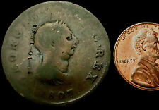 "P819: 1807 George III Copper Halfpenny - Counterstamped ""20-10-1851"""