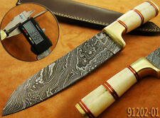 Couteau de chasse Damas Lame fixe Damascus Knife Outdoor Camping Bowie 91202