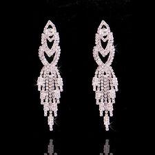 White WEDDING Gift BRIDAL Swarovski Element Crystal Long Earrings Dangle