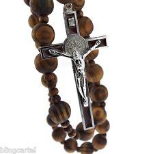 "Giant Big Beads Rosario Dark Wood Jesus Red Metal Cross XL Large 42"" Wall Rosary"