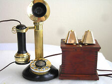 STROMBERG CARLSON FLUTE SHAFT DIAL CANDLESTICK COW BELL RINGER ANTIQUE TELEPHONE