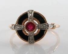 LOVELY 9CT 9K ROSE GOLD RUBY ONYX  & DIAMOND ART DECO INS RING FREE RESIZE