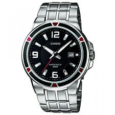 Casio MTP1330D-1A Mens Silver Stainless Steel Quartz Watch with Black Dial NEW