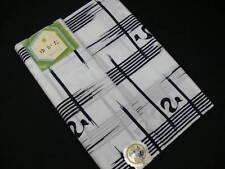 White Cotton Yukata Fabric Bolt w/Indigo Dyed Pttns P41