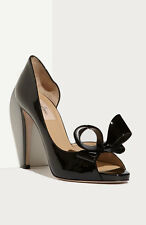 $745+ VALENTINO Couture Bow d'Orsay BLACK Patent Leather Pump Heels Shoes 40.5