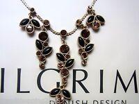 PILGRIM Kette, Collier, collar, Blüten,  Swarovski Elements braun Töne /schwarz