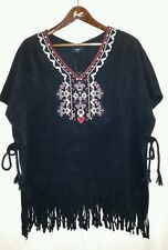 Ladies Embroidered Poncho/Cape/throw In BLK Plus/Free Sized *FREE P&P*