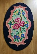 "Vintage Hand Made Burlap Wool Hook Rug Oval Blue Pink Green 35""x58"""
