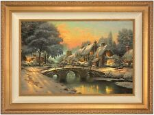 "Thomas Kinkade Cobblestone Christmas 18"" x 27"" LE S/N Canvas (Gold Frame)"