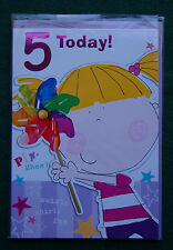 Cute Colourful Pin Wheel 5th Birthday Card for Boys/Girls - BNIP