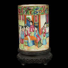 China 19. Jh. A Chinese Canton Famille Rose Porcelain brush pot - Cinese Chinois