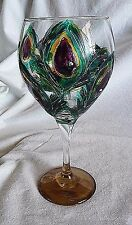 Large Hand Painted Peacock Print 14 oz Wine Glass
