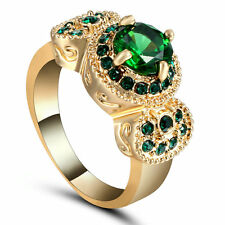 Round Cut Emerald Engagement Ring 18KT Yellow Gold Filled Size 7 Valentine Gift