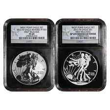 2013-W West Point Silver Eagle 2pc Set NGC PF69 & SP69 FR Retro WPS FR Label