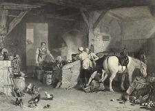 Beim Beschlagen der Pferrde, Schmied. Stahlstich  von C. W. Sharpe, 1860