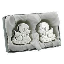 Silver Plated Duck First Tooth And Curl Set - Unisex Baby Gift