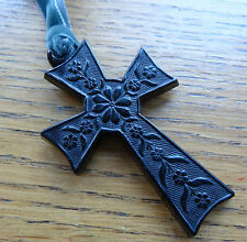 antique Victorian jet black enamel pressed horn flower cross necklace -C418