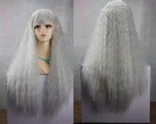 Cos silver gray long straight curly cosplay wig + gift