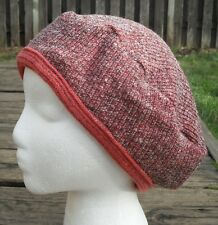 Universal Dark Coral Color Large Size Beret - Handmade by Michaela
