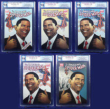 Amazing Spider-Man #583 All 5 Obama Variants graded PGX (not CGC) 9.8 NM/MT HTF
