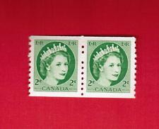 1954  #  345 ** COIL PAIR  VFNH TIMBRES CANADA STAMPS  -  QUEEN ELIZABETH II