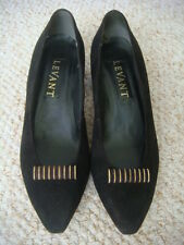 Vintage 1960's Levant Black & Gold Suede Low Heel Pump/Court Shoes UK 5